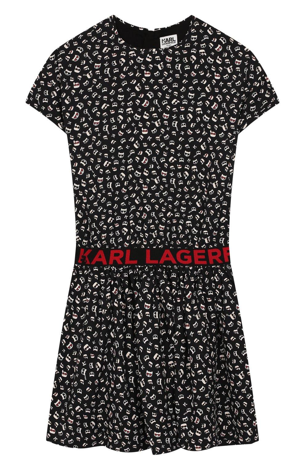 Детское платье KARL LAGERFELD KIDS черного цвета, арт. Z12130 | Фото 1
