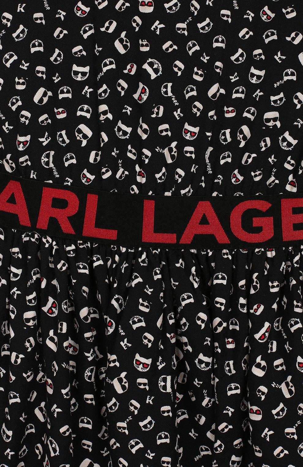 Детское платье KARL LAGERFELD KIDS черного цвета, арт. Z12130 | Фото 3