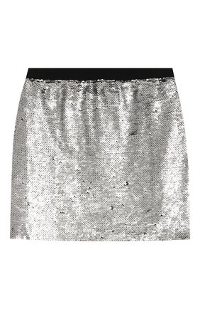 Детская мини-юбка KARL LAGERFELD KIDS серебряного цвета, арт. Z13049 | Фото 1