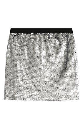 Детская мини-юбка KARL LAGERFELD KIDS серебряного цвета, арт. Z13049 | Фото 2