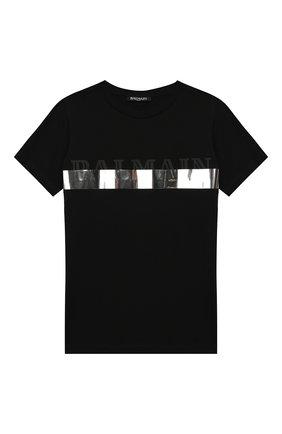 Детская хлопковая футболка BALMAIN черного цвета, арт. 6L8501/LC750/4-10 | Фото 1