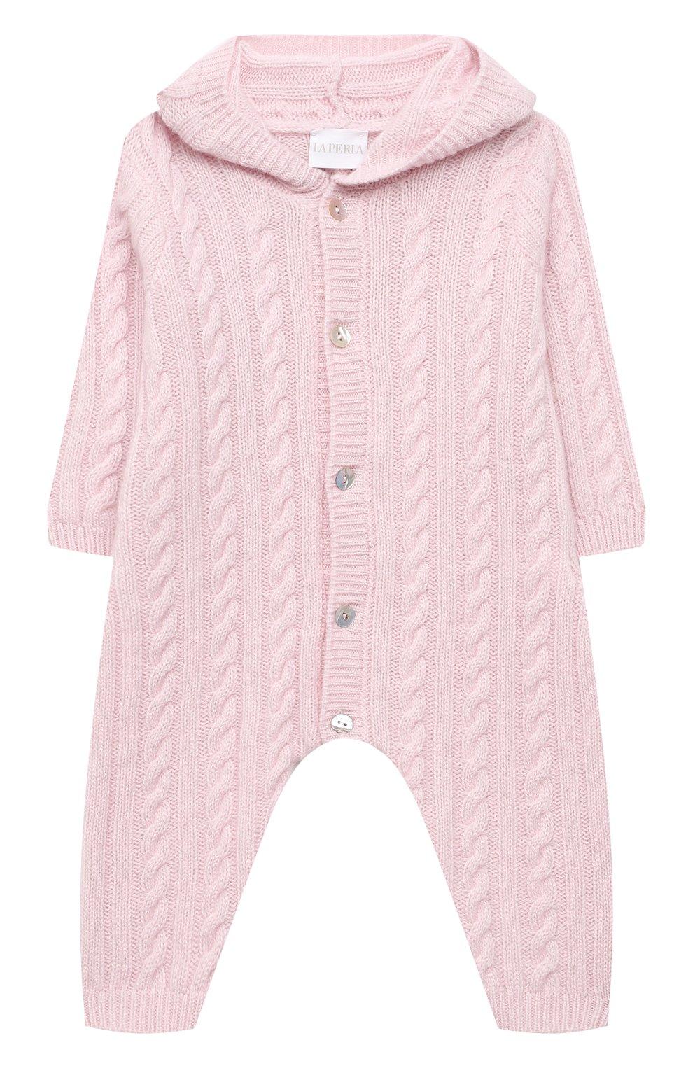 Детский кашемировый комбинезон с капюшоном LA PERLA розового цвета, арт. 59975/1M-12M | Фото 1