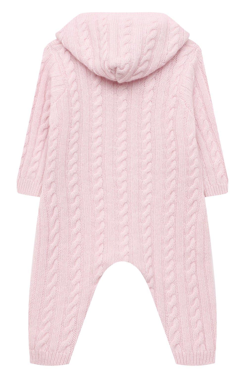 Детский кашемировый комбинезон с капюшоном LA PERLA розового цвета, арт. 59975/1M-12M | Фото 2