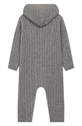 Детский кашемировый комбинезон с капюшоном LA PERLA серого цвета, арт. 59975/1M-12M | Фото 2
