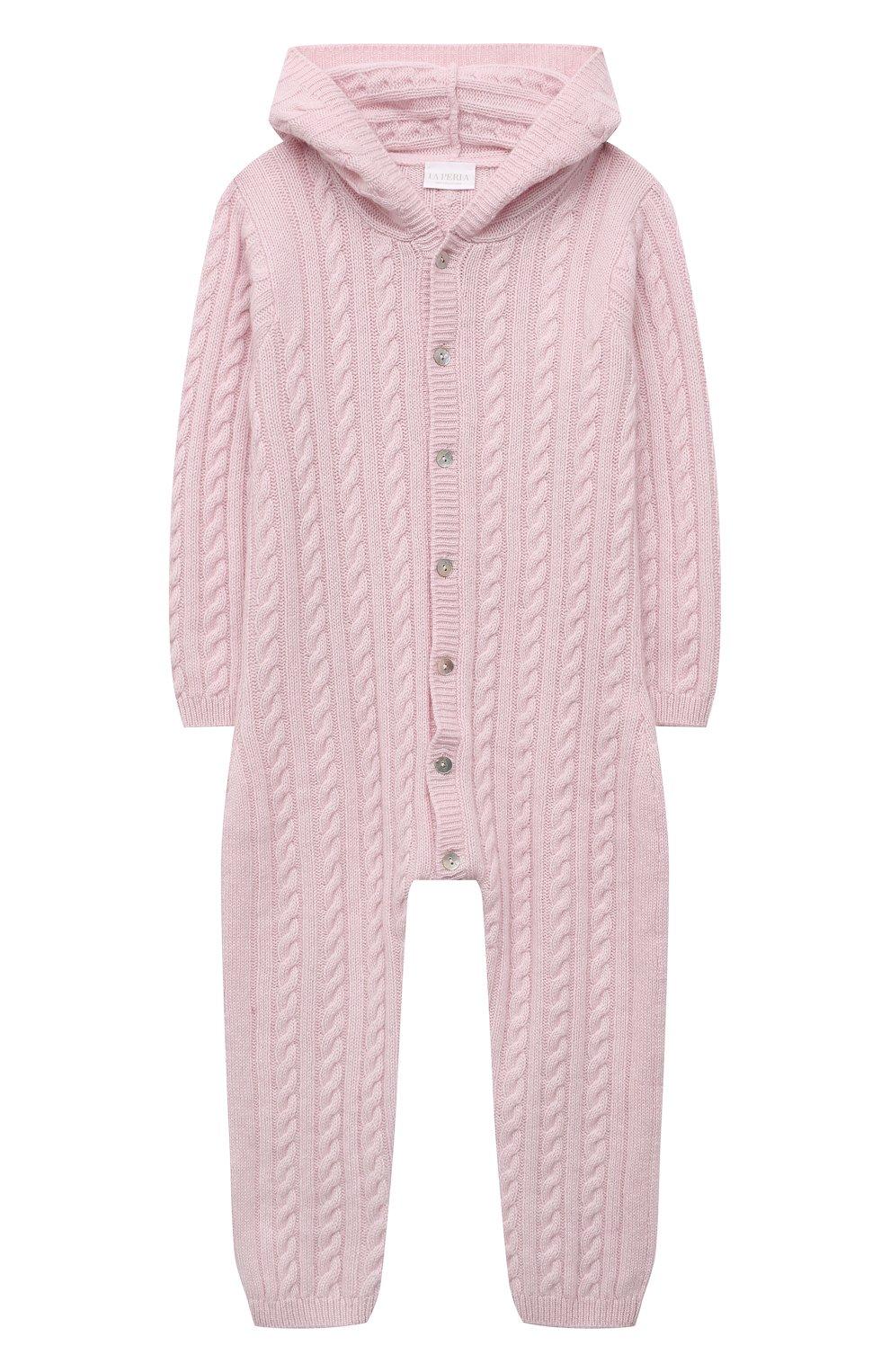 Детский кашемировый комбинезон с капюшоном LA PERLA розового цвета, арт. 59975/18M-24M   Фото 1