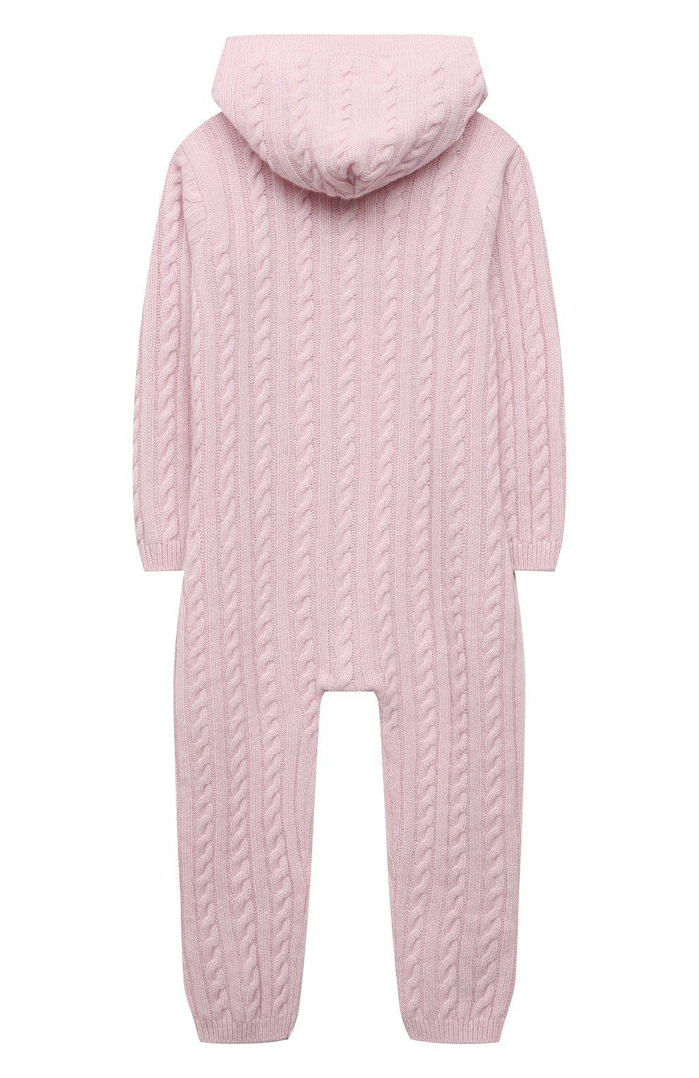 Детский кашемировый комбинезон с капюшоном LA PERLA розового цвета, арт. 59975/18M-24M   Фото 2