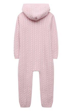 Детский кашемировый комбинезон с капюшоном LA PERLA розового цвета, арт. 59975/18M-24M | Фото 2