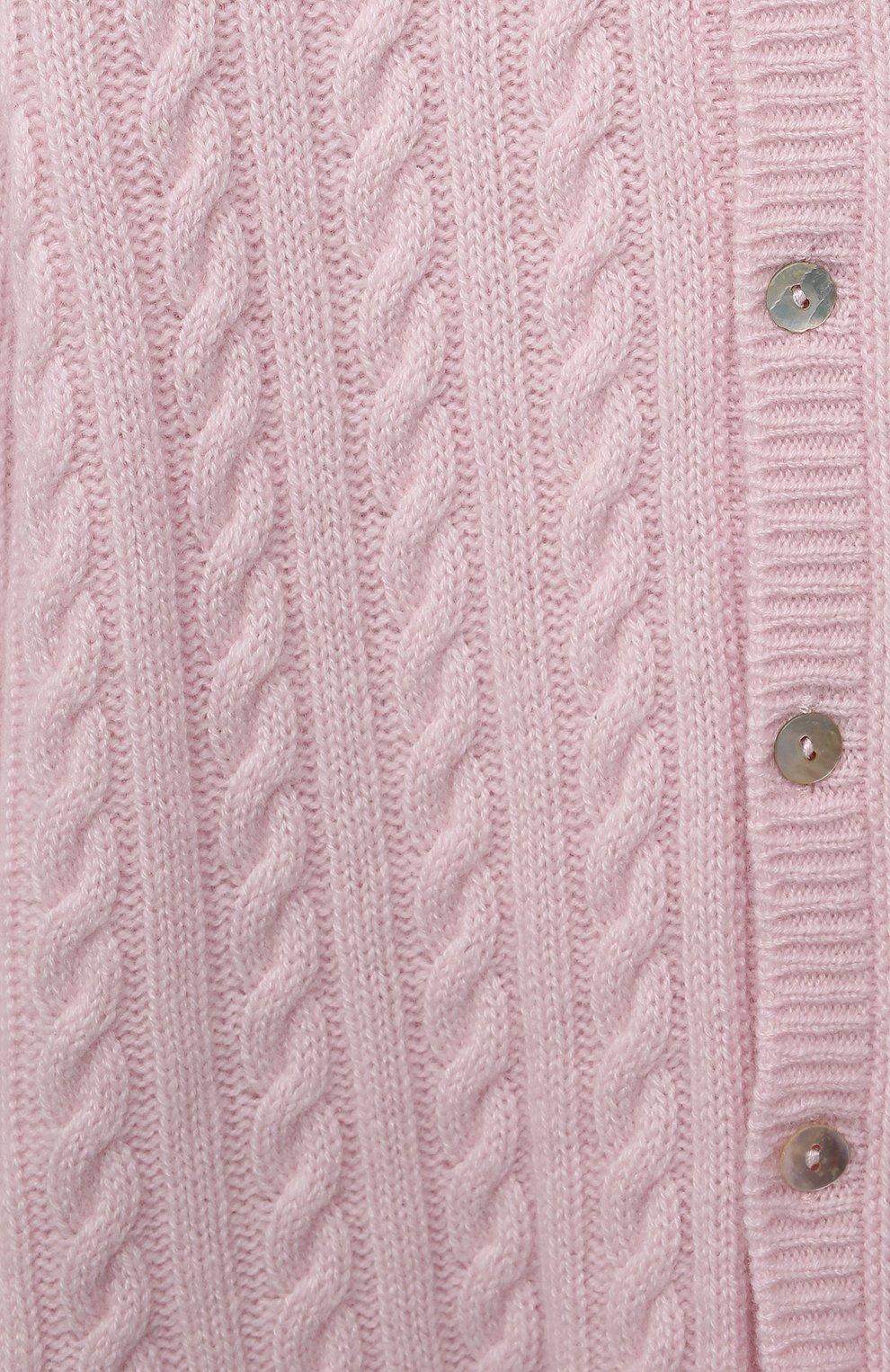 Детский кашемировый комбинезон с капюшоном LA PERLA розового цвета, арт. 59975/18M-24M   Фото 3