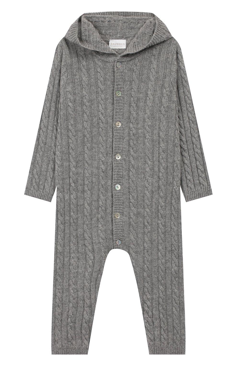 Детский кашемировый комбинезон с капюшоном LA PERLA серого цвета, арт. 59975/18M-24M | Фото 1