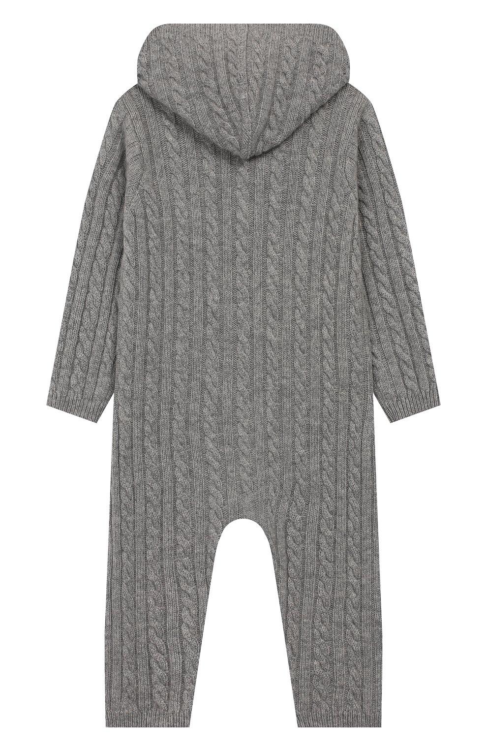 Детский кашемировый комбинезон с капюшоном LA PERLA серого цвета, арт. 59975/18M-24M | Фото 2