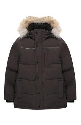 Пуховая куртка Eakin с меховой отделкой на капюшоне | Фото №1