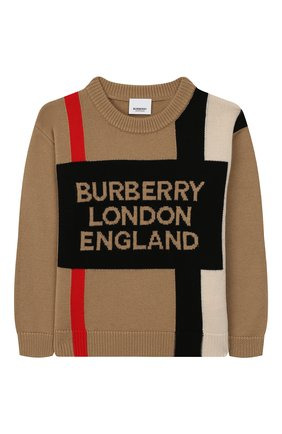 Детский шерстяной пуловер BURBERRY светло-серого цвета, арт. 8017868 | Фото 1