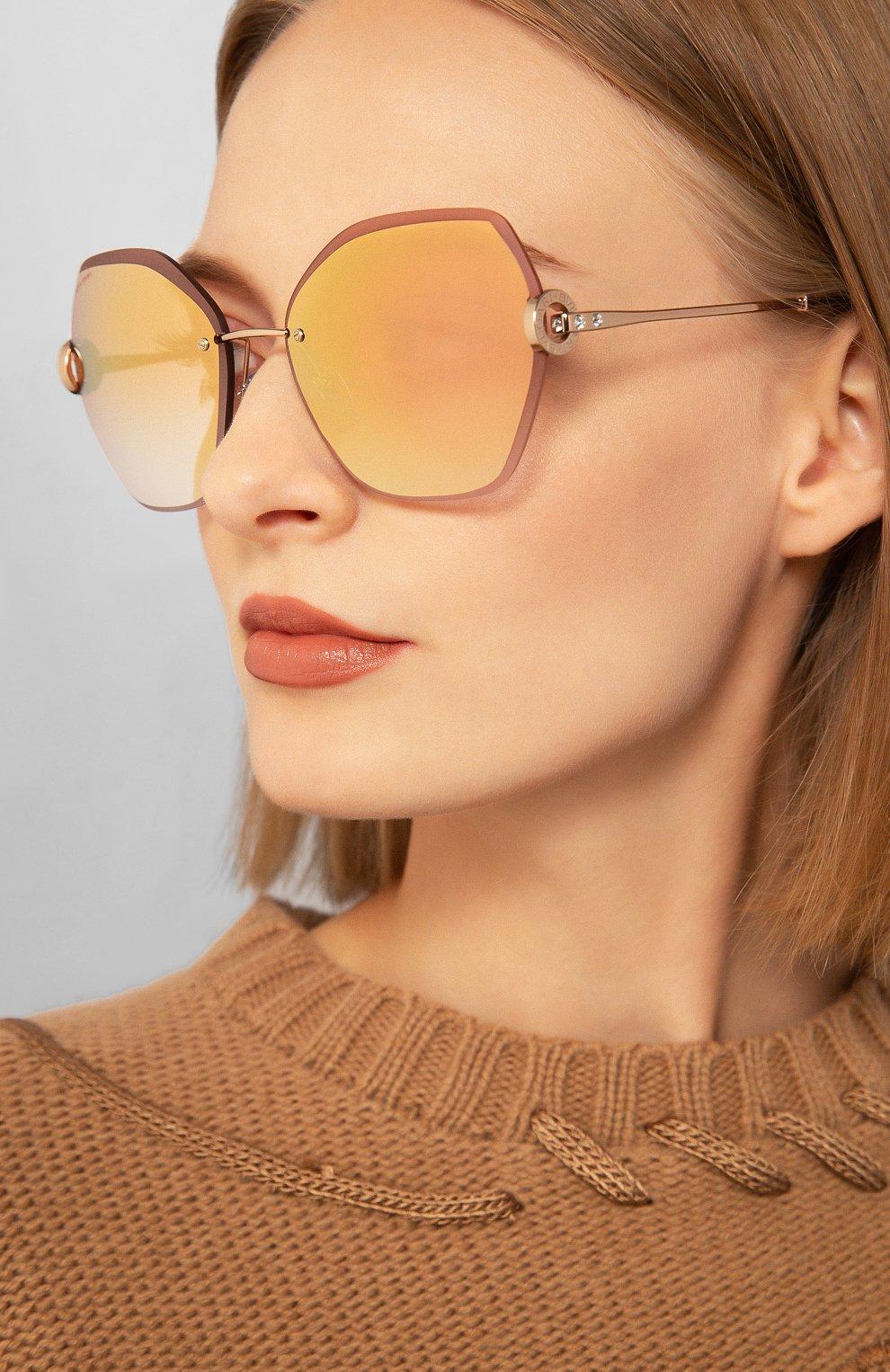 Женские солнцезащитные очки BVLGARI светло-розового цвета, арт. 6105B-20146F | Фото 2