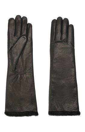 Женские кожаные перчатки AGNELLE черного цвета, арт. CAR0LE | Фото 2