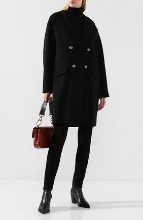 Женское двубортное пальто ISABEL BENENATO черного цвета, арт. DW03F19 | Фото 2