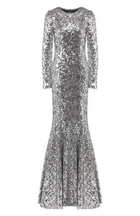 Женское платье-макси DOLCE & GABBANA серебряного цвета, арт. F6G5WT/HLMZM   Фото 1