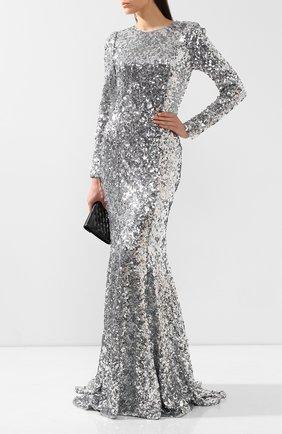 Женское платье-макси DOLCE & GABBANA серебряного цвета, арт. F6G5WT/HLMZM   Фото 2