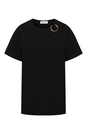 Женская хлопковая футболка ACT N1 черного цвета, арт. PFTS1901   Фото 1 (Рукава: Короткие; Материал внешний: Хлопок; Силуэт Ж (для верхов): Оверсайз; Длина (для топов): Стандартные; Стили: Кэжуэл; Принт: Без принта)