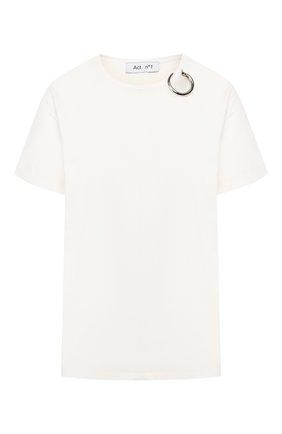Женская хлопковая футболка ACT N1 белого цвета, арт. PFTS1901   Фото 1 (Длина (для топов): Стандартные; Рукава: Короткие; Силуэт Ж (для верхов): Оверсайз; Материал внешний: Хлопок; Стили: Кэжуэл; Принт: Без принта)