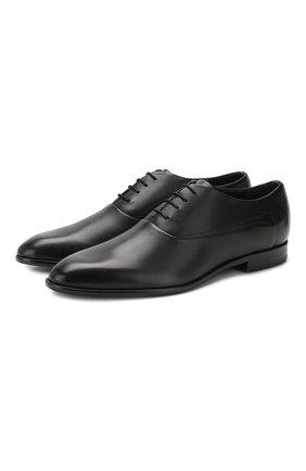 Мужские кожаные оксфорды HUGO черного цвета, арт. 50414568   Фото 1