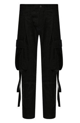 Мужской брюки-карго из смеси шерсти и хлопка MASNADA черного цвета, арт. M2322 | Фото 1