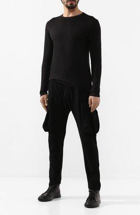 Мужской брюки-карго из смеси шерсти и хлопка MASNADA черного цвета, арт. M2322 | Фото 2