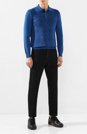 Мужское поло из смеси кашемира и шелка ZILLI синего цвета, арт. MBS-PB148-NEL01/ML01 | Фото 2
