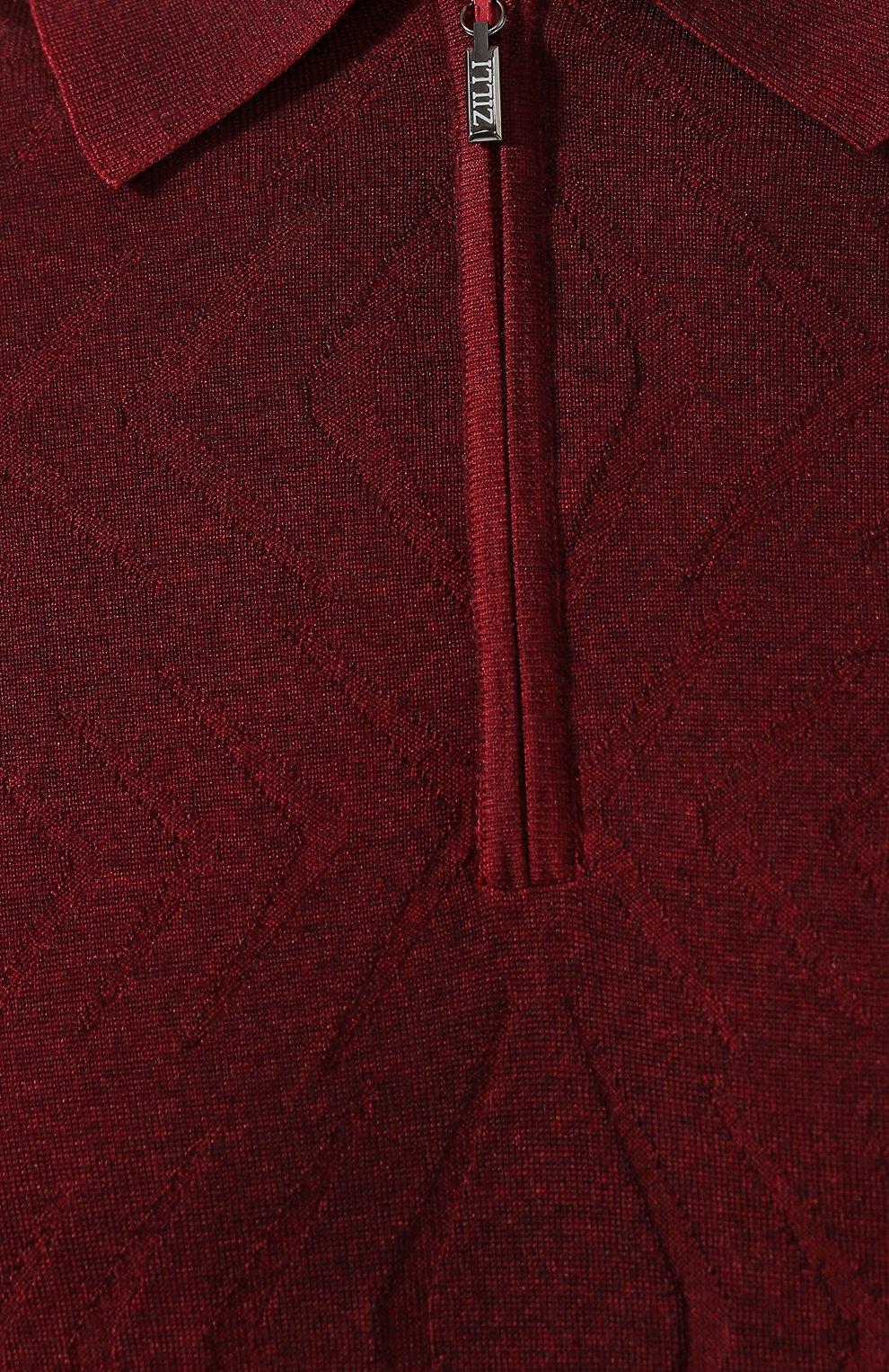 Мужское поло из смеси кашемира и шелка ZILLI бордового цвета, арт. MBS-PZ022-B0SP1/ML01   Фото 5