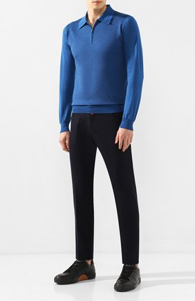 Мужское поло из смеси кашемира и шелка ZILLI синего цвета, арт. MBS-PZ112-JACQ1/ML01 | Фото 2