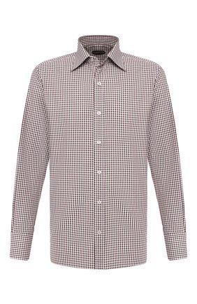 Мужская хлопковая сорочка TOM FORD коричневого цвета, арт. 6FT073/94S1JE | Фото 1
