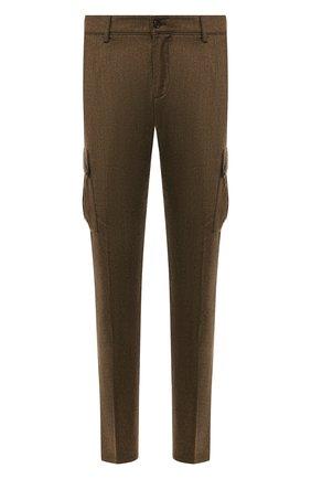 Мужские шерстяные брюки-карго ANDREA CAMPAGNA хаки цвета, арт. SC CARG0/RD5470 | Фото 1 (Материал подклада: Купро; Материал внешний: Шерсть; Статус проверки: Проверена категория; Длина (брюки, джинсы): Стандартные; Силуэт М (брюки): Карго; Случай: Повседневный; Стили: Кэжуэл)