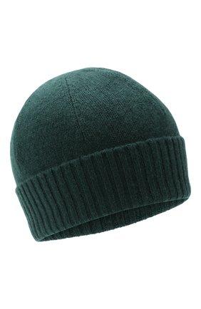 Мужская кашемировая шапка ALLUDE темно-зеленого цвета, арт. 195/30033 | Фото 1