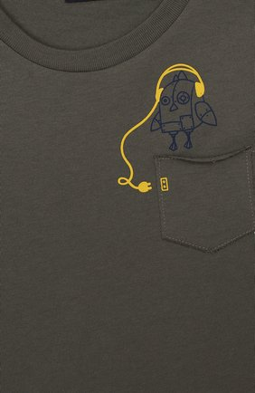 Детская хлопковый лонгслив IL GUFO хаки цвета, арт. A19TA186M0094/2А-4А | Фото 3