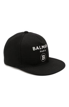 Детская хлопковая бейсболка BALMAIN черного цвета, арт. 6L0677/LX540 | Фото 1
