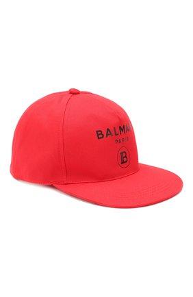 Детская хлопковая бейсболка BALMAIN красного цвета, арт. 6L0677/LX540 | Фото 1
