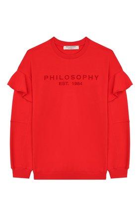 Детский хлопковый свитшот PHILOSOPHY DI LORENZO SERAFINI KIDS красного цвета, арт. PJFE18/FE147/UH002/L-XL   Фото 1