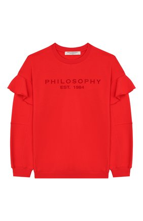 Детский хлопковый свитшот PHILOSOPHY DI LORENZO SERAFINI KIDS красного цвета, арт. PJFE18/FE147/UH002/XXS-XS   Фото 1