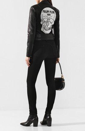 Женская кожаная куртка PHILIPP PLEIN черного цвета, арт. WLB0628 | Фото 2