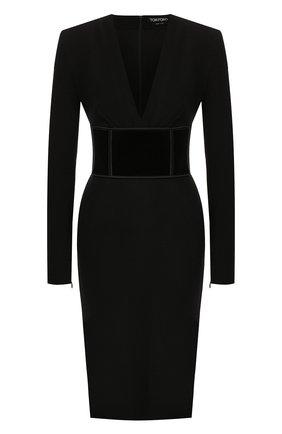 Женское шерстяное платье TOM FORD черного цвета, арт. AB2702-FAX431 | Фото 1 (Материал внешний: Шерсть; Длина Ж (юбки, платья, шорты): До колена; Рукава: Длинные; Материал подклада: Шелк; Случай: Формальный; Статус проверки: Проверена категория)