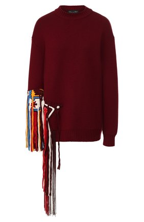 Женская шерстяной свитер OSCAR DE LA RENTA красного цвета, арт. 19FE1439SWS | Фото 1