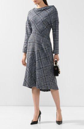 Женское платье из смеси кашемира и шелка KITON голубого цвета, арт. D48334K01S58 | Фото 2