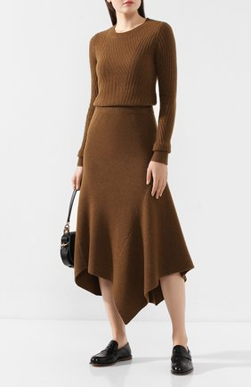Женская юбка из смеси шерсти и кашемира PRINGLE OF SCOTLAND хаки цвета, арт. WSF060 | Фото 2