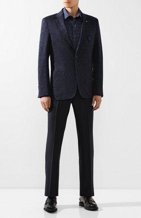 Мужская хлопковая сорочка BILLIONAIRE темно-синего цвета, арт. MRP1050 | Фото 2