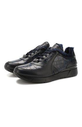 Мужские кожаные кроссовки BILLIONAIRE темно-синего цвета, арт. MSC2491   Фото 1
