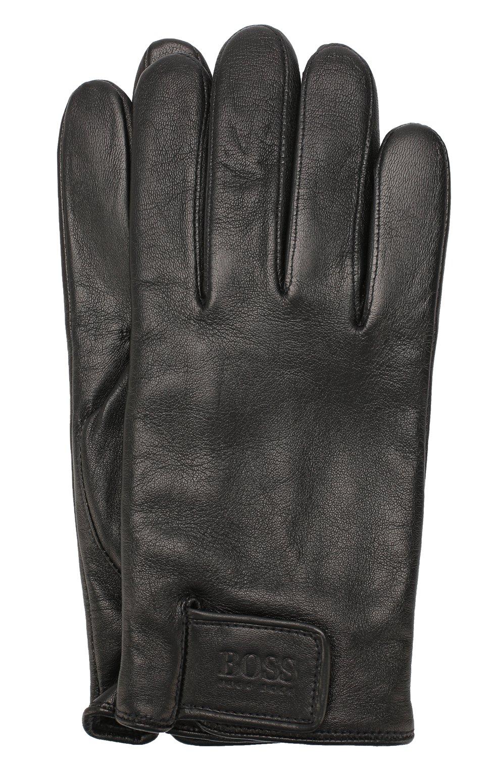 Мужские кожаные перчатки BOSS черного цвета, арт. 50416288 | Фото 1