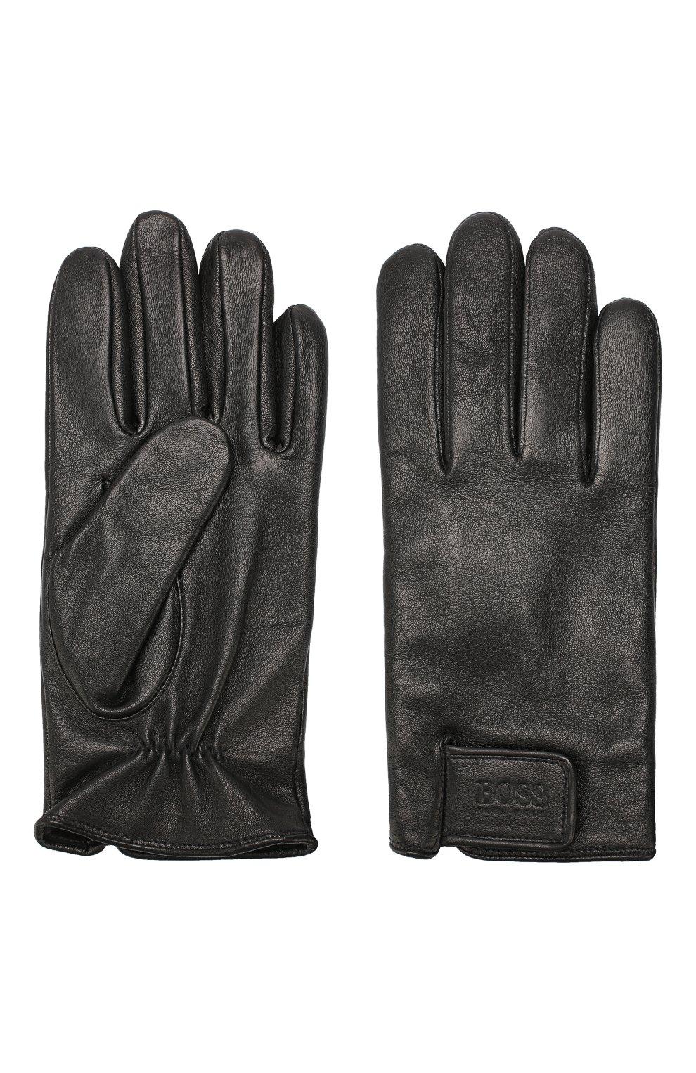 Мужские кожаные перчатки BOSS черного цвета, арт. 50416288 | Фото 2