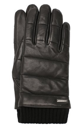 Мужские кожаные перчатки HUGO черного цвета, арт. 50418448 | Фото 1