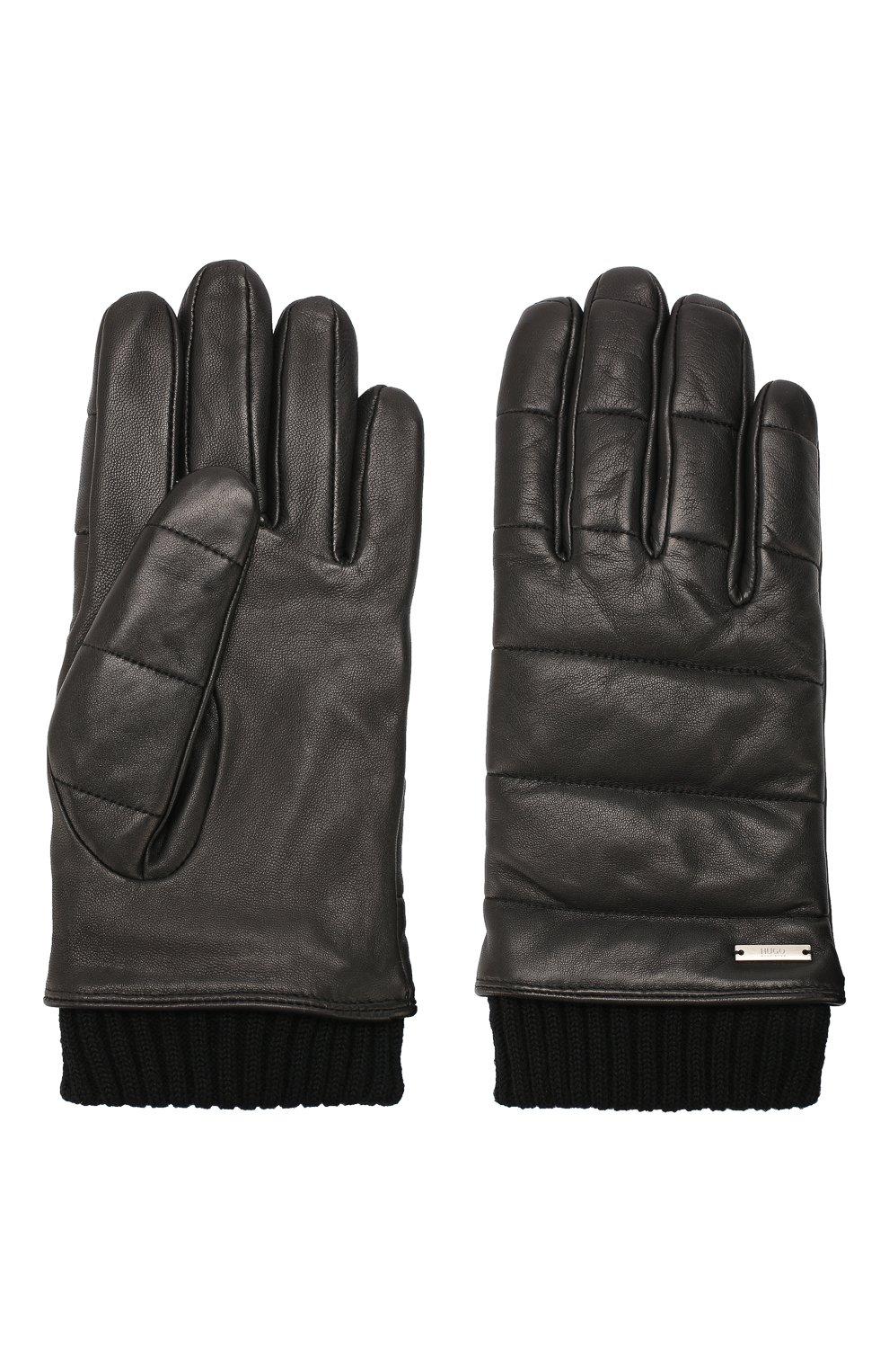 Мужские кожаные перчатки HUGO черного цвета, арт. 50418448 | Фото 2