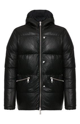 Мужская кожаный пуховик GIORGIO BRATO черного цвета, арт. GU20F9200CRIDFEAR   Фото 1 (Материал подклада: Синтетический материал; Длина (верхняя одежда): Короткие; Мужское Кросс-КТ: Пуховик-верхняя одежда, Кожа и замша, Верхняя одежда, пуховик-короткий; Кросс-КТ: Пуховик, Куртка; Рукава: Длинные, 3/4)