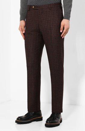 Мужские брюки из смеси шерсти и шелка ANDREA CAMPAGNA коричневого цвета, арт. VULCAN0/VB1293 | Фото 3